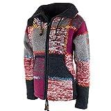 Damen Strickjacke Goa Wolle Bunte Patchwork Jacke mit Fleecefutter und Hochkragen, Größe:M