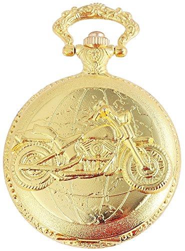 Flair Analog Taschenuhr mit Metall Kette und Hakenverschluss im Motiv Chopper Motorrad 480802000095 Goldfarbiges Gehäuse im Maße 47mm x 14mm mit Ziffernblattfarbe Weiß und Mineralglas