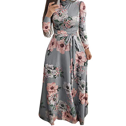 Sannysis Damen Maxikleid Langes Elegantes Kleid Langarm Hoch Geschnitten Bodenlang Blumenkleid Blumedrucken Strandkleid Slim Partykleid