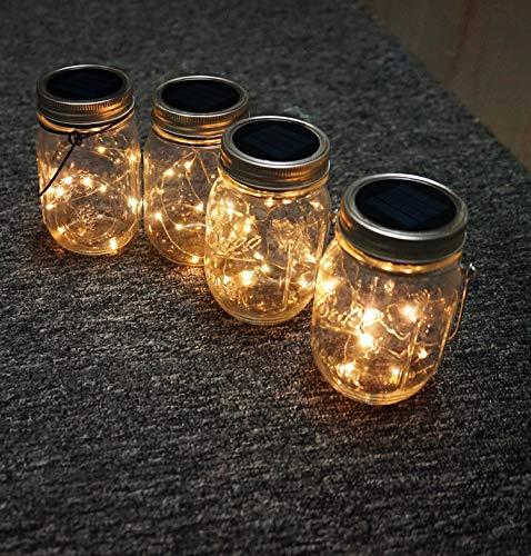 Solar Mason Jar Lid Lights, 8 Pack 30 Led String Fairy Star Firefly Jar Lids Lights,8 Hangers Included(Jars Not Included), Best Mason Jar Decor,Patio Garden Yard Deck Floor Solar Laterns Table Lights