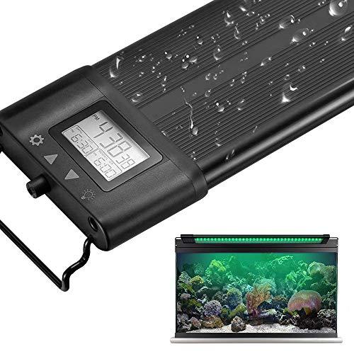 Koval アクアリウムライト 30/45/60/75/90/120CM対応 7色LED 昼光と月光モード LCDディスプレイ 水槽ライト 調光&タイマー付き 水草育成 観賞魚 熱帯魚 水槽照明LEDライト (タイマー付き) (30-50)