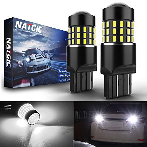 NATGIC 7443 7440 w21/5w 7440NA Bombillas LED Chipsets 3014SMD 54-EX con proyector de Lente para Luces de Marcha atrás con Freno de Respaldo, Xenón Blanco 12-24V (Paquete de 2)
