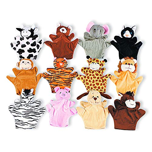 Five Finger Animal Hand Puppets with Arms and Legs (Set of 12) Zoo and Farm