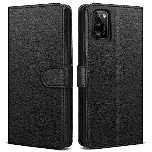 Vakoo für Samsung Galaxy A41 Hülle, Book-Style Premium Leder Brieftasche Handytasche Schutzhülle Tasche Handyhülle für Samsung Galaxy A41 - Schwarz