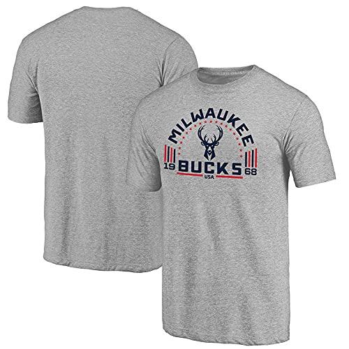 Camiseta de manga corta de la NBA Bucks con cuello redondo casual de baloncesto gris media manga camisetas