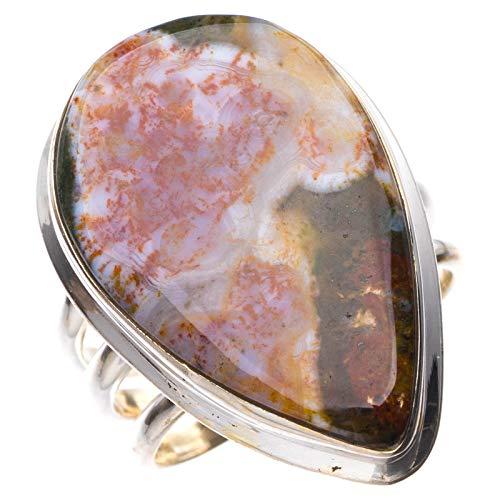StarGems Natural Piedra de sangre Anillo de plata de ley 925 único hecho a mano 12 3/4 E3466