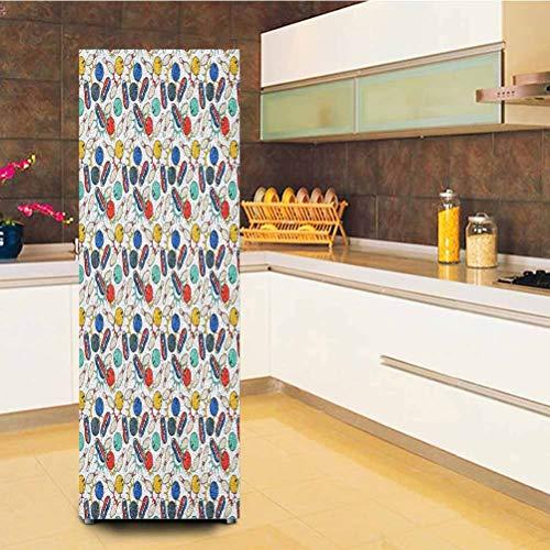 calcomanía decorativo para puerta de bolos personalizado, diseño de garabatos de color en la hoja de cuaderno de fondo y zapatos en estilo retro, papel pintado de puerta autoadhesivo, 23 x 59 pulgadas, multicolor, Art Deco, Pegatina nevera 01, 23.6x59 Inch