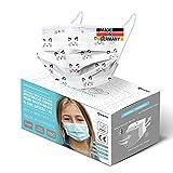 HARD 50x Kinder Medizinischer Mundschutz, Made in Germany, TYP IIR OP-Maske, CE zertifiziert EN14683 99,78% BFE 3-lagig, schützende Mund-Nasen-Bedeckung, Einweg-Gesichtsmasken - Kätzchen Weiß
