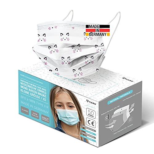 HARD 50x Kinder Medizinischer Mundschutz TYP IIR OP-Maske Made in Germany, CE zertifiziert EN14683, BFE 3-lagig 99,78% schützende schützende Mund-Nasen-Bedeckung, Einweg-Gesichtsmasken - Grün
