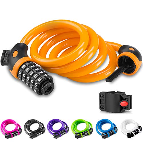 Opaza Bike Lock with 5-Digit Code, 1.2m/4ft Bicycle Lock Combination Cable Lock Lightweight & Security Bike Chain Lock for Bicycle, Mountain Bike, Scooter (Orange)