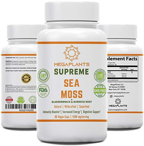 MegaPlants Supreme Sea Moss SuperFood Blend | Organic | WildCrafted | Irish Moss, Bladderwrack, Burdock Root | 1500 Milligrams | Essential Minerals