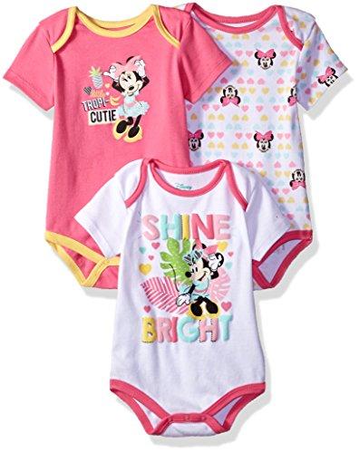 Disney Minnie Mouse – Conjunto de 3 Monos para bebé, Multi/Sugar Plum Pink, 18m