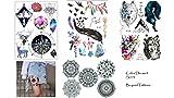4 hojas de tatuaje de mandala con brújula, tatuaje falso, tatuaje, tatuaje, tatuaje, plumas y tatuajes de color Dream Set 3