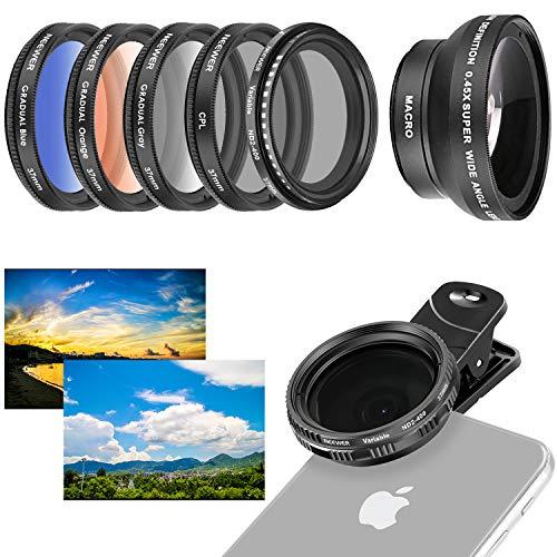 Neewer Handy-Objektiv-Zubehörset, 37 mm, inklusive 0,45x Weitwinkel-Objektiv, Clip, Farbverlaufsfilter (blau orange grau), runder Polfilter, Graufilter ND2–400Filter