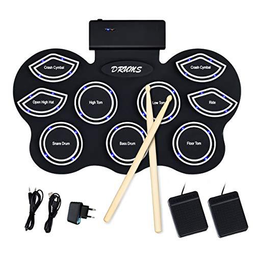 COSTWAY 9 Pads E-Drum mit LEDs, elektronisches Schlagzeug Set mit Lehrfunktion und Bluetooth, Roll-Up-Trommel inkl. Pedale und Drumsticks für Kinder und Anfänger, schwarz