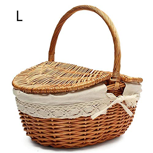 Flyinghedwig Handmade Wicker Basket with Handle, Wicker Camping Picnic Basket with Double Lids, Shopping Storage Hamper Basket with Cream Lining, Two Colors (Wooden, Large)