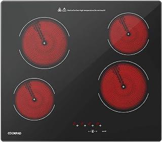 COOKPAD Vitrocerámica con 4 Zonas de cocción, Quemador eléctrico de Estufa de 60 cm, Cocina de Vidrio Negro [Clase energética A +]