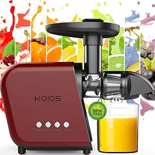 KOIOS Entsafter Maschine Slow Masticating Juicer Gemüse und Obst Leicht zu reinigen Kaltpresse Entsafter mit leisen Motor & Rückwärtsfunktion | BPA-frei