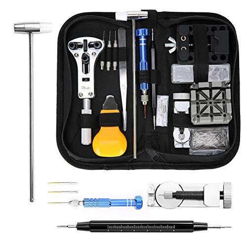 MoEvert Kit Riparazione Orologi Professionale 181 Pezzi Orologi Strumenti kit Portable Tool kit Orologiaio Con Bustina In Nylon Inclusa …