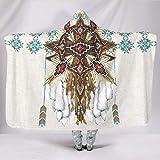 KASTLEE Native Indian American Arrows Dreamcatcher Hooded Blankets Throw Cloak Cape Casual Sherpa Fleece Blanket Throw White 60x80 inch
