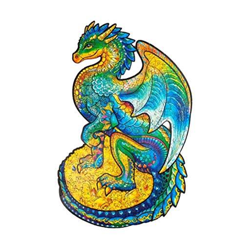 XIAMUSUMMER Puzzle de madera – Piezas de puzzle en forma única de protección de dragón, para adultos y niños, ideal para la colección de juegos familiares.