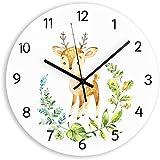 ZHPBHD La habitación de los Ciervos Grande Mecanismo de acrílico Lindo decoración del Reloj de Cuarzo Digital silenciosa del Reloj de Pared del diseño Moderno 30x30cm