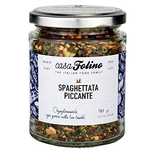 Spaghettata aglio, olio e peperoncino piccante 80 g in vasetto di vetro Riutilizzabile e Riciclabile. Ideale per ogni tipo di preparazione. Made in Italy - Spezie CasaFolino - Preparato per pasta.