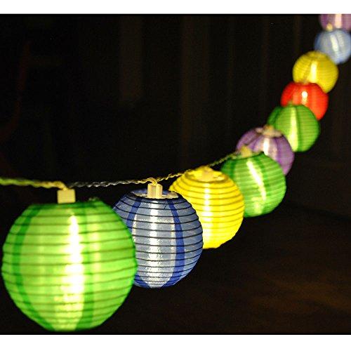 JnDee™ Guirlande lumineuse de 20 lanternes en tissu à piles Rouge/jaune/bleu/vert/violet 3 m
