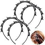 4 horquillas para el pelo con doble poni, trenzadas mágicas, para peinar el pelo, para mujeres y niñas, color negro