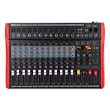 XTUGA RX120 USB 12-Channel Professional Audio Mixer Sound Card Built-in 24-bit DSP Digital Effect with Recordable Function and Digital Display MP3,Bluetooth,EQ,Effects (red)