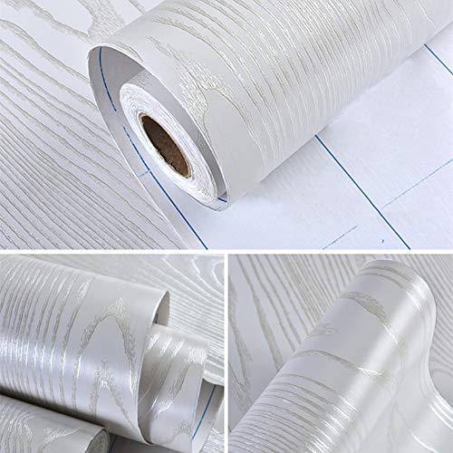 Hode Weiss Holz Folie Selbstklebend Verbessrte Klebefolie Holzoptik Möbelfolie für Möbel Schrank Tür Wasserdicht Weiß 40X200cm