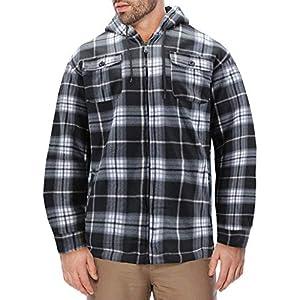 Men's Heavyweight Flannel Zip Up Fleece Lined Plaid Sherpa Hoodie Jac...