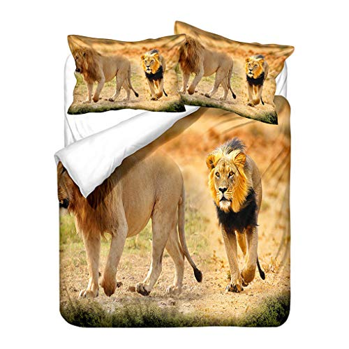 HNHDDZ Kids Boys Bedding set 3D Animals lion Yellow Green Blue Black Duvet Cover and Pillowcase set Microfiber Soft and Breathable (Style 4,Single 135x200 cm)