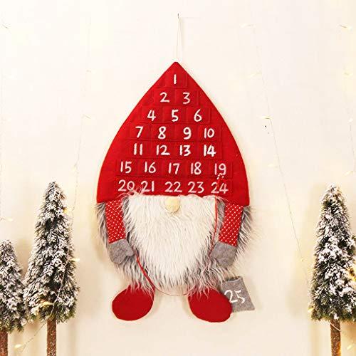 Calendario de Adviento Colgante Diseño de Reno Navideño Calendario Cuenta Atrás 24 Días con Bolsillos Rellenable Regalitos para Niños Decoración para Navidad Hecho de Fieltro