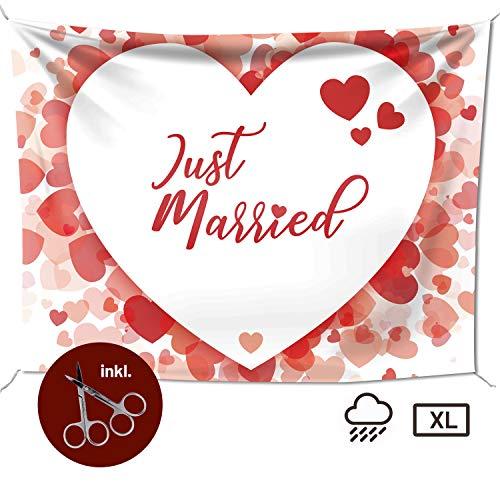 Hochzeitslaken – Hochzeitsherz zum Ausschneiden, als Hochzeitsspiel fürs Brautpaar beim Standesamt, Großes Motiv (240x180 cm, Glücksgefühle)