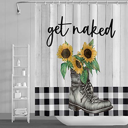 LFEEY Western Farmhouse Duschvorhang Get Naked lustiges Zitat mit Cowboy-Stiefel Sonnenblumen Badezimmer Vorhang auf Holz Büffel Karo Plaid Dekor 183 x 183 cm Polyester Stoff