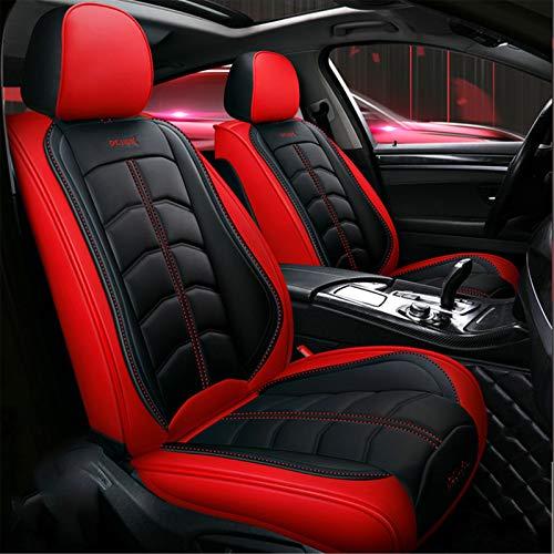 11 unids 5 Asientos Asiento de Coche Cojín de Asiento Auto Asiento Cubiertas Protector Cushion Deluxe PU Cuero Frente + Trasero Conjunto Completo SUV Camión,Black Red