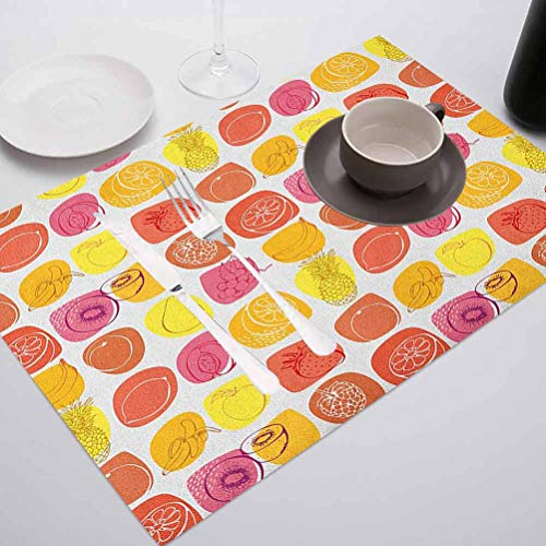 FloraGrantnan Heat-Resistant Placemats Washable Easy to Clean Table Mats, Fruits Retro Pine Lemon Kiwi Raspberry Pop Art Modern Food ICO, for Conference Table,Dinging Home Office Decor, Set of 8