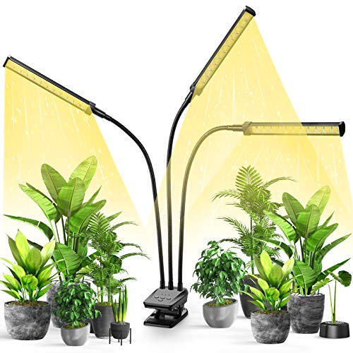 LED Plant Grow Light, Growing Lamp Full Spectrum for Indoor Plants with Timer, Tri Head Growing Light for Seedlings with Adjustable Gooseneck & Desk Clip On, 3 Switch Modes 10 Brightness Setting