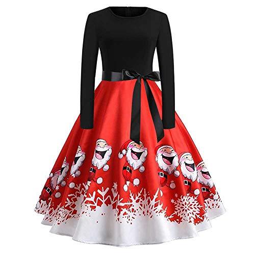 YSHJF Swing-jurk met lange mouwen met kerstvintage-print