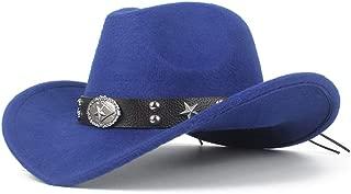 SXQ New Men's Women's Western Cowboy Hat with Punk Belt Winter Outdoor Church Hat Wide Brim Fedora Hat Sombrero Hat Size 56-58CM (Color : Blue, Size : 56-58)