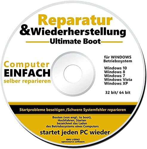 REPARATUR CD/DVD für Windows 10 bis XP NEU PC Reparatur Ultimate Boot
