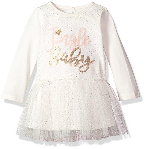 Mud Pie Girls' Christmas Jingle Baby Long Sleeve Mesh Overlay Tutu Dress, Ivory, 6-9 MOS