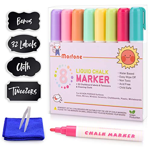 Metallic Chalk Markers, Morfone Set of 8 Liquid Chalkboard Marker Pens 6mm Reversible Tip for Windows Mirrors Metal Plastic Chalkboards(Including 32 Chalkboard labels, Cleaning Cloth and Tweezers)