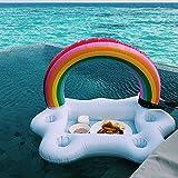 Colchoneta hinchable para piscina, soporte para bebidas, 2 en 1, soporte para bebidas y aperitivos, colchonetas flotantes para piscina, fiestas y diversión en el agua (A)