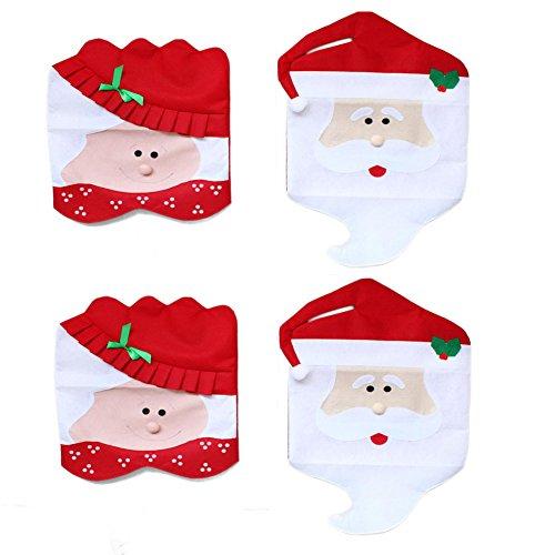 DegGod 4 Pezzi Mr & Mrs Creativo di Santa Sveglia Coprisedie Decorazione di Natale Tavolo da Pranzo Decor Decorazioni Natalizie (4pcs Babbo Natale)