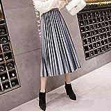 Photo de YLXINGMU Jupes pour Dames,Gray Autun Winter Vevet Kirt High Waited Kinny Big Wing Ong Peated Kirt PU IZE Ine High Wait Peated Kirt,