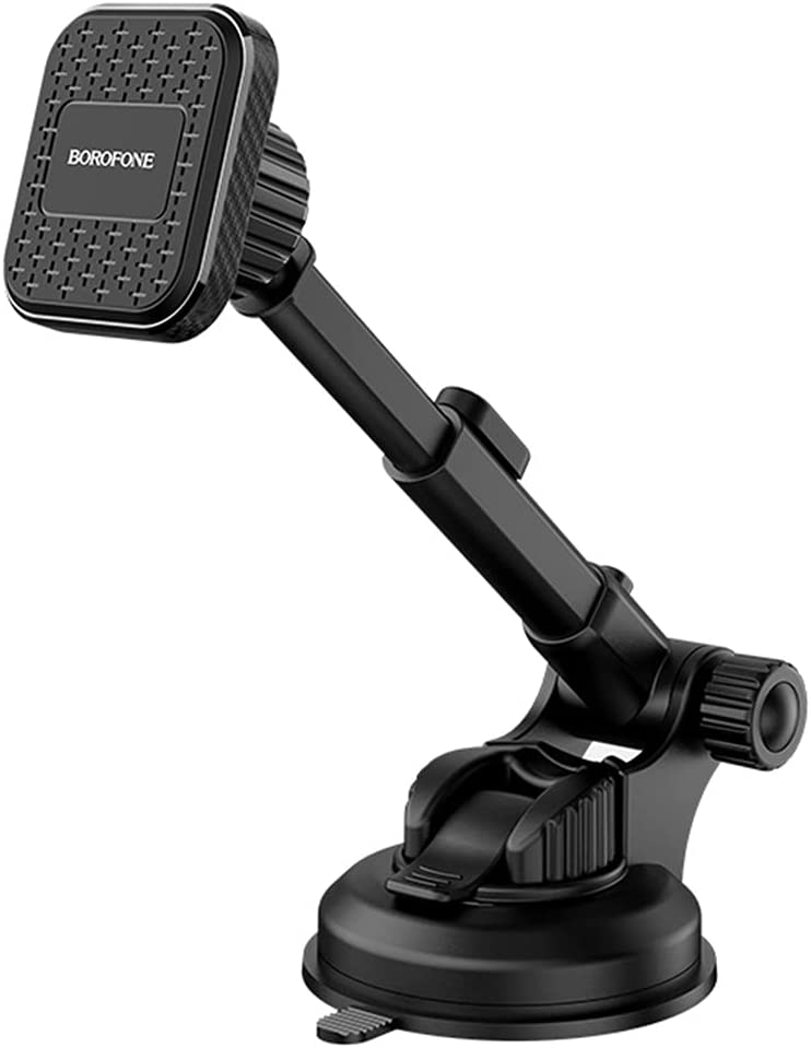 Magnetic Car Phone Mount, Universal Cell Phone Holder on Dashboard or Windshield, with Strong Sticky Suction Cup and Multi-Angle Adjustable Arm