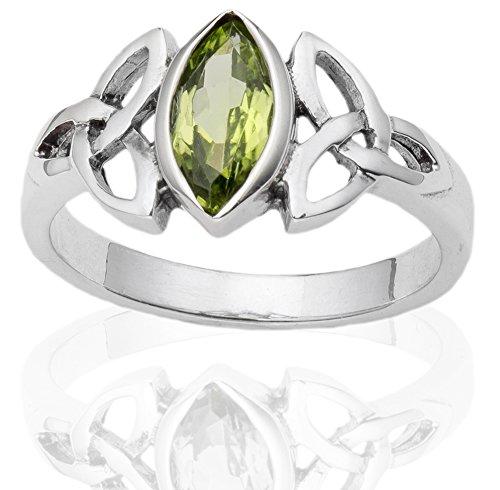 DTPsilver - Damen - Ring 925 Sterling Silber mit Peridot Keltisch Trinity Design