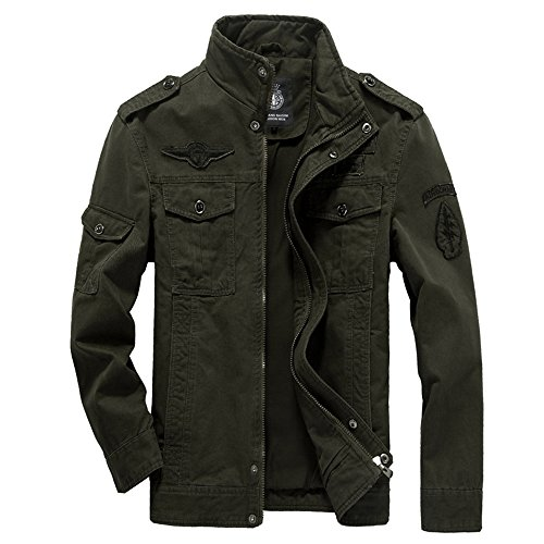 Kolongvangie Men's Winter Military Style Air Force Jacket Army Green
